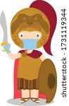 alexander the great cartoon... | Shutterstock .eps vector #1731119344