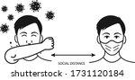 social distance icon  corona...   Shutterstock .eps vector #1731120184