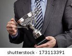 businessman celebrating with... | Shutterstock . vector #173113391