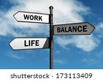 work life balance road sign... | Shutterstock . vector #173113409