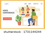 video conference web page...   Shutterstock .eps vector #1731144244