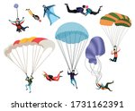 set of skydivers. collection of ... | Shutterstock .eps vector #1731162391