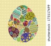 easter egg with smaller eggs... | Shutterstock .eps vector #173117699
