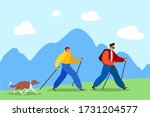 happy married couple with a dog ...   Shutterstock .eps vector #1731204577