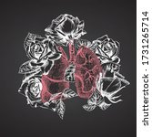 lungs with bouquet roses on... | Shutterstock .eps vector #1731265714
