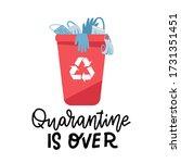 trash   medical mask  gloves in ... | Shutterstock .eps vector #1731351451