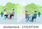 people eating and drinking at... | Shutterstock .eps vector #1731357244