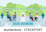 people eating and drinking at... | Shutterstock .eps vector #1731357247