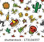 cool mexican stuff seamless... | Shutterstock . vector #173136557