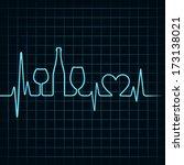 heartbeat make wine glasses... | Shutterstock .eps vector #173138021