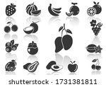fruit icons and shadow lemon... | Shutterstock .eps vector #1731381811