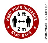 keep your distance 6 ft or 6... | Shutterstock .eps vector #1731391414
