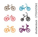 City Family Bikes Flat Vector...