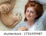 calm millennial woman relaxing... | Shutterstock . vector #1731459487