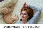 calm millennial woman relaxing... | Shutterstock . vector #1731462550
