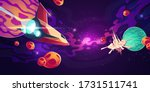 spaceship in outer space with...   Shutterstock .eps vector #1731511741