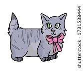 Cute Cartoon Munchkin Kitten...