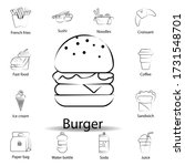 fast food burger outline icon....