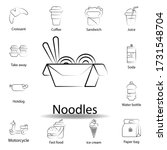 fast food noodles outline icon. ...