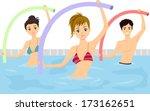 adolescente,aerobica,aqua,facendo,esercizio,ragazzo,signora,donna,giovani,gioventù