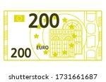 200 euro banknote. vector line... | Shutterstock .eps vector #1731661687