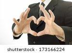 businessman shows a heart shape ... | Shutterstock . vector #173166224