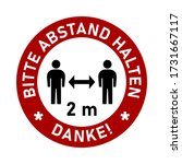 bitte abstand halten danke  ... | Shutterstock .eps vector #1731667117