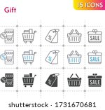 gift icon set. included gift ... | Shutterstock .eps vector #1731670681