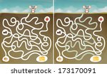 Mouse and Cheese : Maze Game with Solution, vector illustration