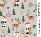 Seamless Cute Santa And...