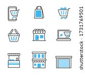 set of store icons in blue and... | Shutterstock .eps vector #1731769501