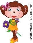 Cute Monkey Cartoon Holding...