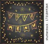 chalk cafe festive menu board... | Shutterstock .eps vector #1731849364