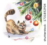 Cartoon Cat Looks At Christmas...