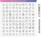 100 thin line icons for web and ... | Shutterstock .eps vector #173188871