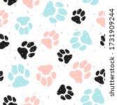 grunge dog paw seamless... | Shutterstock .eps vector #1731909244