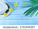 Tropical Palm Leaf With Yellow...