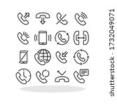 phone icon set in flat style.... | Shutterstock .eps vector #1732049071