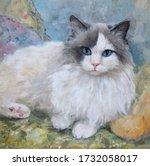 Portrait Of A Ragdoll Cat  Oil ...
