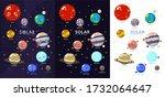 three variants of solar system...   Shutterstock .eps vector #1732064647