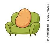 couch potato  funny metaphor.... | Shutterstock .eps vector #1732070287
