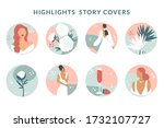 collection of highlight story... | Shutterstock .eps vector #1732107727