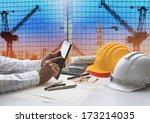 civil engineer working with... | Shutterstock . vector #173214035
