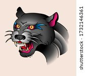 head of angry roaring panther ...   Shutterstock .eps vector #1732146361
