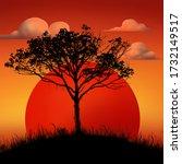 Sunset Tree Illustration...