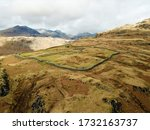 Small photo of Aerial view of Hardknott Roman Fort and parade ground