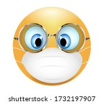 emoji emoticon wearing medical... | Shutterstock . vector #1732197907