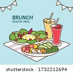 full brunch collection  healthy ... | Shutterstock .eps vector #1732212694