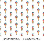 line art summer seamless beach... | Shutterstock . vector #1732240753
