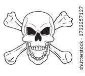 Hand Drawn Outline Comic Skull...